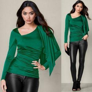 🆕️VENUS Sexy Emerald Asymmetrical Cut Flounce Top